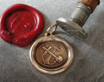 Faith Hope Love Wax Seal Charm - antique wax seal jewelry Anchor Cross Heart symbols by RQP Studio
