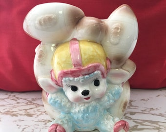 Vintage Caffco Japan E-3138 Lamb w/ Footballs & Helmet Ceramic Planter