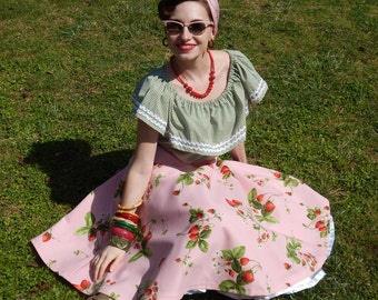 Vintage 50s inspired custom made strawberries circle skirt