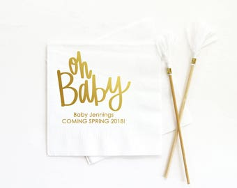 Custom Baby Shower Napkins Oh Baby Personalized Napkins Gold Gender Reveal Party Supplies Baby Shower Decorations Printed Beverage Napkins