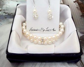 Bridals pearl set, Pearl bracelet and earrings set, Swarovski pearl set, 2 strands pearl bracelet, Sterling ear wires, Bridesmaids pearl set