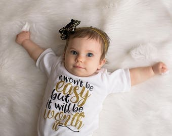 Worth It Baby Outfit, Worth the Wait baby outfit, Newborn Take Home Outfit, Worth it Baby Gown, Girls Coming Home Outfit, Black Gold Glitter