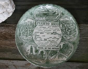 """Mid Century, Tourist Souvenir Plate, Puerto Rico """"Pearl of Antilles"""""""
