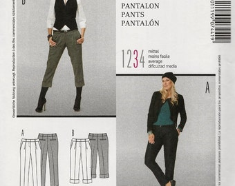 Burda 7441 Narrow tailored pants trousers ankle or cropped cuffed pleats slant pocket hipster fly zip Size 8-10-12-14-16-18 (uncut)