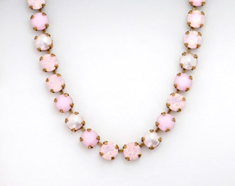 Soft Pink Rhinestone Necklace, Light Pink Pearl Necklace, Rhinestone Jewelry, Nickel Free Antiqued Brass, Pink Necklace Crystal, Damalis