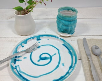 Set of Four Ceramic Dinner Plates, Blue, Dinnerware, Water's Edge Collection, Ready to Ship