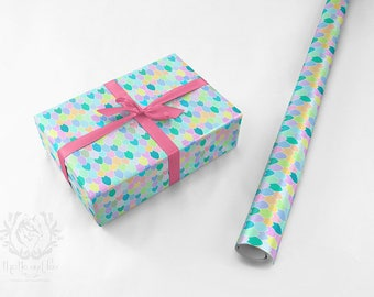 Wrapping Paper Roll Mermaid Scales Pearl Multicolor Illustrated Quality Satin Eco Friendly Printed Paper/ Made to Order/ Ships from USA Free