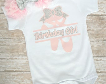 Ballerina Birthday Shirt - Ballerina Birthday - Ballerina Party - Ballerina Birthday Girl - Ballerina Outfit - Pink and Silver Birthday