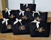 Set of 8 Personalized Tote Bags for Bride and Bridesmaid Monogrammed Bridal Attendant Bags