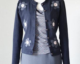 Navy Flowered Cardigan