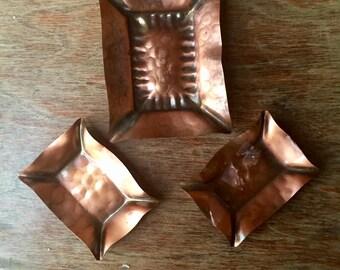 Hand Hammered Gregorian Copper Ashtrays, Set of Three, Vintage