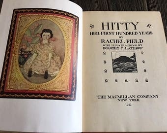 Hitty Her First Hundred Years Novel By Rachel Field - 1942 Hitty Doll Book - Hitty Book - Orange Hardcover Hitty Book