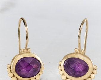 Amethyst Gold Earrings, 22k Gold Earrings, Solid Gold Earrings, Gemstone Earrings,Gold Dangle Earrings, Fine Jewelry Made In Israel