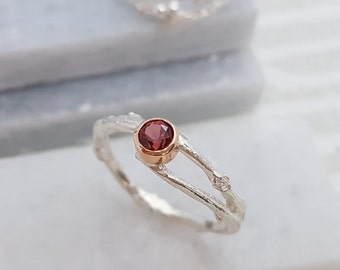 Garnet Woodland Twig Ring, Silver and Gold, January Birthstone Ring, Engagement Ring, Birthday Gift