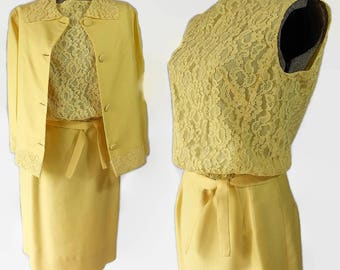 RESERVED 60s Yellow Wiggle Dress Jacket Set, Mad Men Style, Mother of Bride, Vintage Wedding