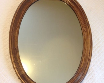 Large Vintage Oval MIRROR w Solid Oak Frame Wall Hanging