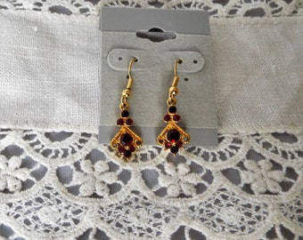 Dangle Earrings, Gold With Red Crystals, Christmas, Holidays, Art Deco style