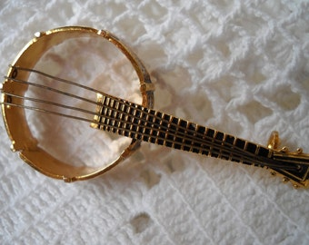 Vintage Banjo Brooch, Damascene Musical Instrument Made in Spain, Music Teacher Jewelry, Gold Metal Banjo pin