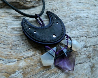 Amethyst, Smoky Quartz and Agate Gemstone Necklace Australian Gemstone and Recycled Leather Jewelry by Ariom Designs