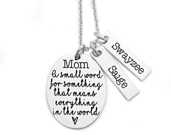 Mom A Small Word For Something That Means Everything - Engraved Jewelry - Mother Jewelry - Mother's Day Gift - Personalized Jewelry - 1427