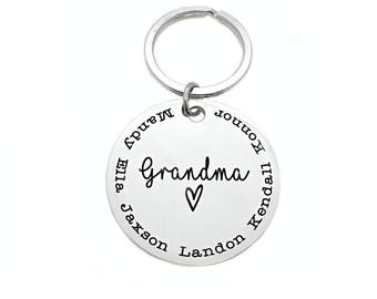 Personalized Grandma Mom Keychain - Grandma Key Chain - Engraved Children Grandchildren's Names - Mother's Day - Gift for Grandma - 1045