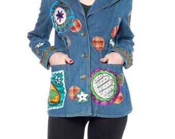 Boho Denim Blazer With Multicolor Embroidery Size: 6