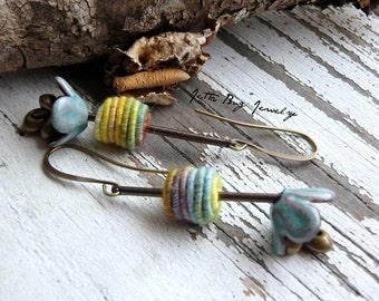Flower Drops- artisan enamel flower. hand wrapped pastel fiber beads. mint. colorful. floral fiber earrings. Jettabugjewelry