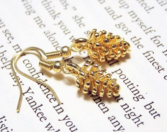 Gold Pinecone Earrings