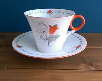 Shelley Art Deco Tea Cup and Saucer c1930s