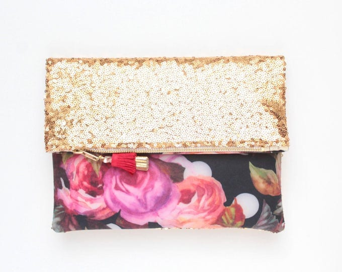 BLISS 6 / Sequin clutch bag-fold over bag-wedding bag-bridesmaid gift-floral print-flower fabric-gold sequin-black red purple-Ready to Ship