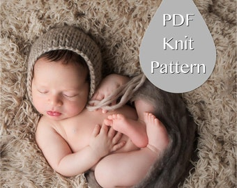 PDF Knit Pattern #0003  Newborn Classic Knit Solid Color Bonnet Knit PDF Pattern, Tutorial, Knit Pattern, Beginner, Easy,Instruction,Newborn