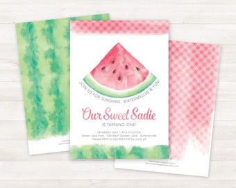 Watermelon Invitation, Watermelon Birthday Invitation, Printable Birthday Invitations, Summer Invitations, First Birthday, Girls Birthday