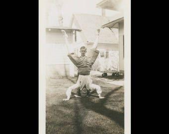 Vintage Snapshot Photo: Head Stand, c1940s (74567)