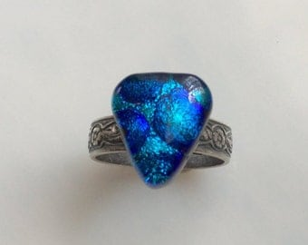 Blue Dichroic Glass Ring, Fused Glass Jewelry, Antiqued Silver Oxidized Adjustable Ring, Blue Aqua Dichroic Ring