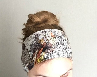 World Map Head Scarf long head wrap summer hair accessory thin scarf wraps , beach wraps, vintage world map skinny scarf scarves to tie