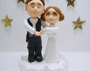 Ready To Ship - Star wars theme Han solo and Princess Leia wedding cake topper