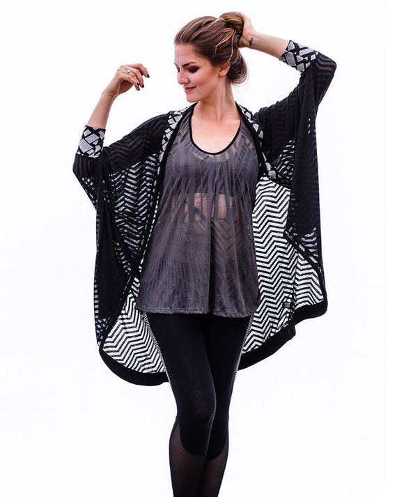 Black Sheer Kimono Boho Cover Up Indie Fashion Loose Fit