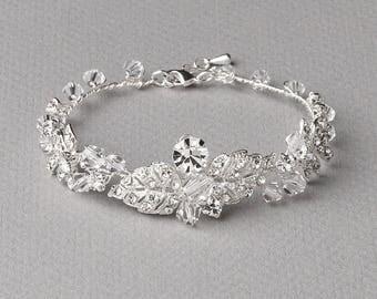 Floral Rhinestone Bracelet, Wedding Bracelet, Bridal Jewelry, Rhinestone Wedding Jewelry, Crystal Bracelet, Floral Bracelet, Bridal ~JB-4838