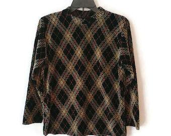 Vintage plaid top argyle cute 90s wear size M/L