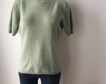 Sage green cashmere sweater turtleneck Short sleeved knit  top gift for her retro 50s from the 90s mongolian cashmere plus size USA XL