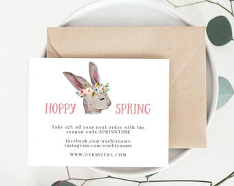 INSTANT Business Thank You Cards, Editable PDF Printable Packaging Inserts for Online Shops, Etsy Sellers | Spring Marketing | Download