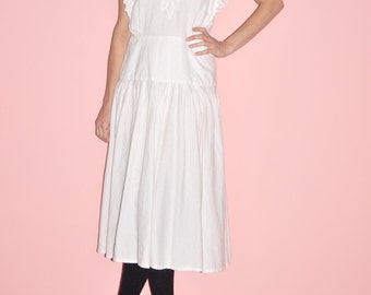 Vintage 80s White Ramie Cotton Embroiderd Prairie Crochet Lace Drop Waist Summer Wedding Maxi Dress