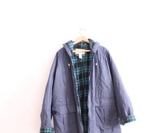 Navy Blue Woodland 90s Rain Jacket