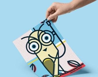 Endless Summer, Pop Art, Summer, Owl, Bird, Colour, illustration, Wall Art, Home Decor, a4, Poster, Geometric