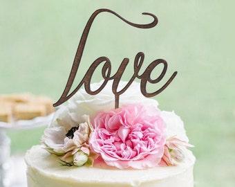 Rustic LOVE Wedding Cake topper - Wooden cake topper - Engagement Cake topper