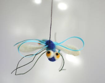 Needle Felted Dragonfly - Blue Dragonfly Ornament - Summer Decoration - Dragonfly Miniature - Blue Dragonfly - Needle Felt Animals
