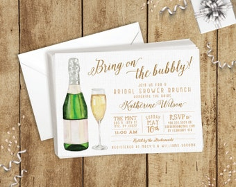 Bring on the Bubbly Champagne Bridal Shower Invitations Mimosa Brunch Theme - White & Gold Glitter - FREE CUSTOM COLORS - Printed Invites