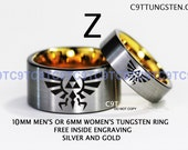 Legend Of Zelda Inspired 10MM Or 6MM Tungsten Wedding Ring, Brushed Silver And Gold Plate Interior With Black Edge, Free Inside Engraving