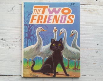 The Two Friends Book . 1973 . Ibarra . Favorite Tales . Black Cat . Folk Tale . Vintage Cat Book . 1970's Children's Book . 70's Kid's Story