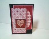 Love Handmade Greeting Card, Hearts in Red and Pink, Valentine'sDay, Wedding Card